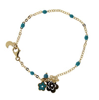 18K Yellow Gold Turquoise enamel Beads with Flowers and Turquoise enamel  Flower Bracelet 6 inchesAmalia J. & Boutique Bracelets