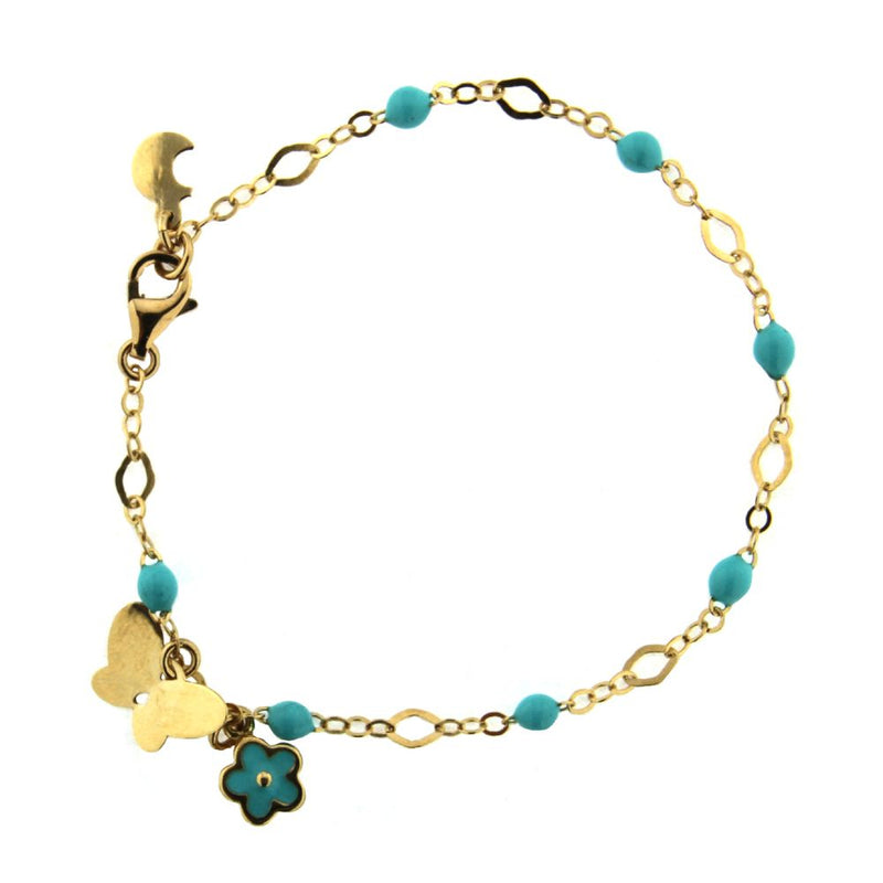 18k Solid Yellow Gold Turquoise Enamel Beads 6.5 inches Bracelet with One Butterfly and One Turquoise Enamel Flower and extra ring at 6 inchesAmalia J. & Boutique Bracelets