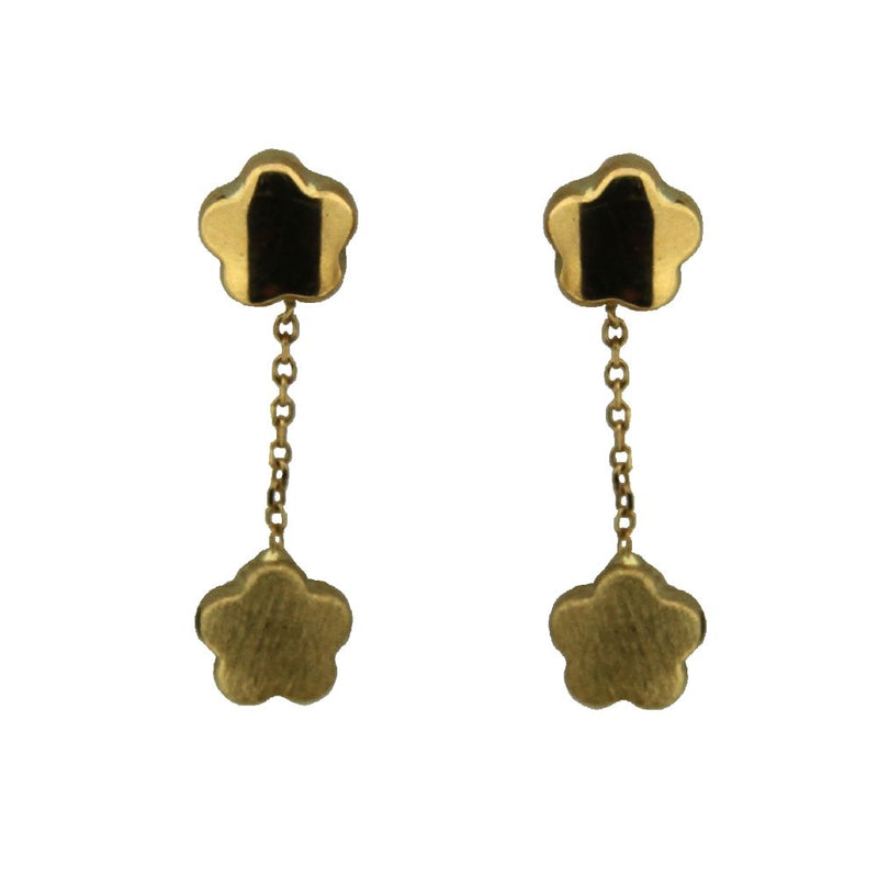 18K Yellow Gold  Top Polished Flower and Bottom Satin Finish Flower Dangle Post earrings L 1.0 inchAmalia J. & Boutique Earrings