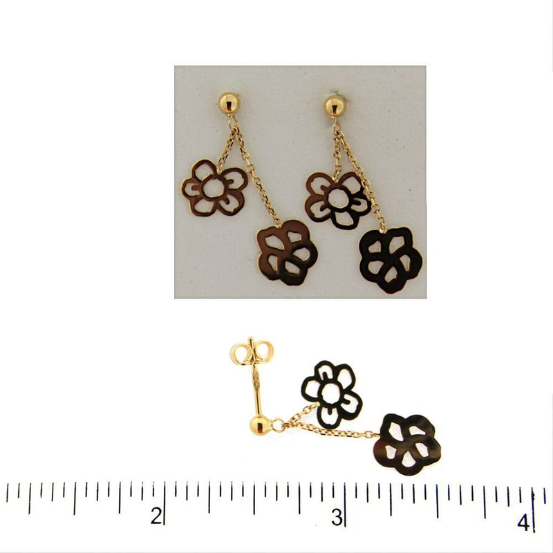 18K Yellow Gold Dangle  Post Flowers earrings L 1 inchAmalia J. & Boutique Earrings