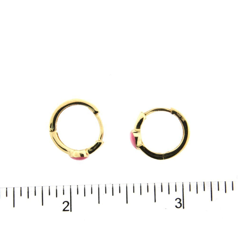 18K Yellow Gold Pink Enamel Heart  Huggie 0.50 inch external  diameterAmalia J. & Boutique Earrings
