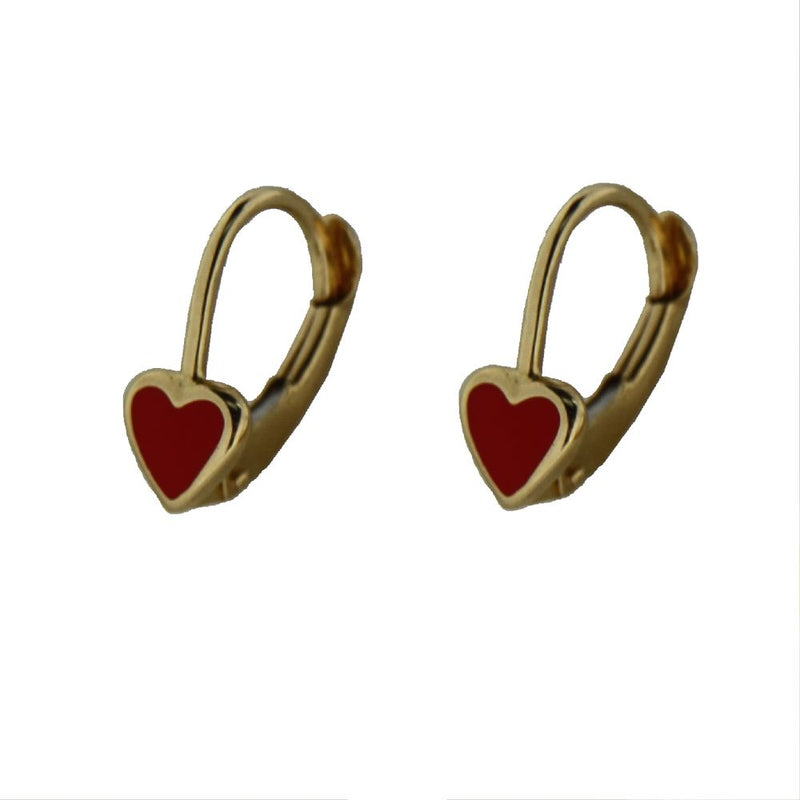 18K Yellow Gold Red Heart Lever Back EarringsAmalia J. & Boutique Earrings