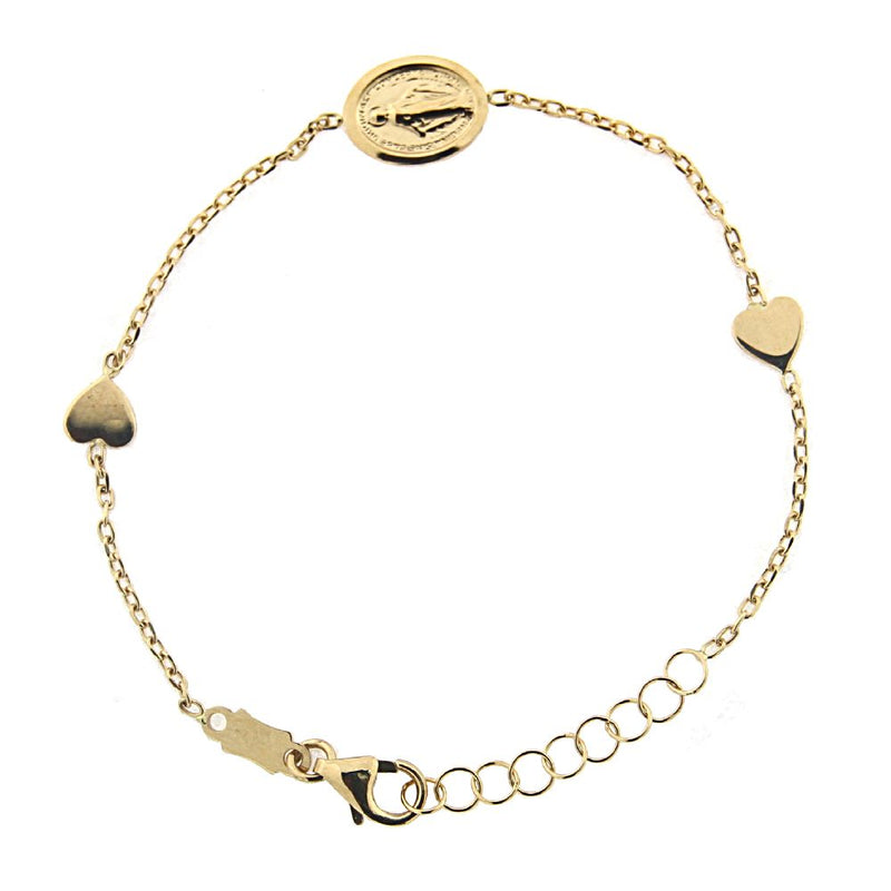 18 K Yellow Gold  Two Small Hearts with center Miraculous Medal  5.50 inches Bracelet with extra rings starting at 4.75 inchesAmalia J. & Boutique Bracelets