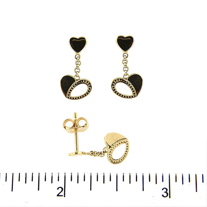 18K Yellow Gold Smal top Heart and Dangle open Heart Earrings 0.40 inchAmalia J. & Boutique Earrings