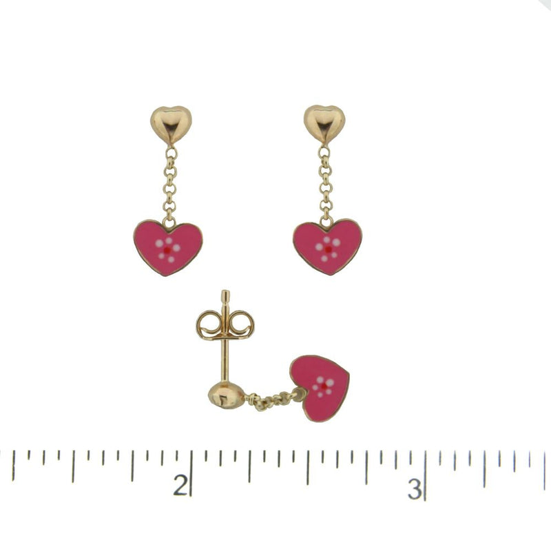 18K Yellow Gold top tiny polished Heart and Dangle Pink Heart with center flower Enamel Post earrings 0.60 inchAmalia J. & Boutique Earrings