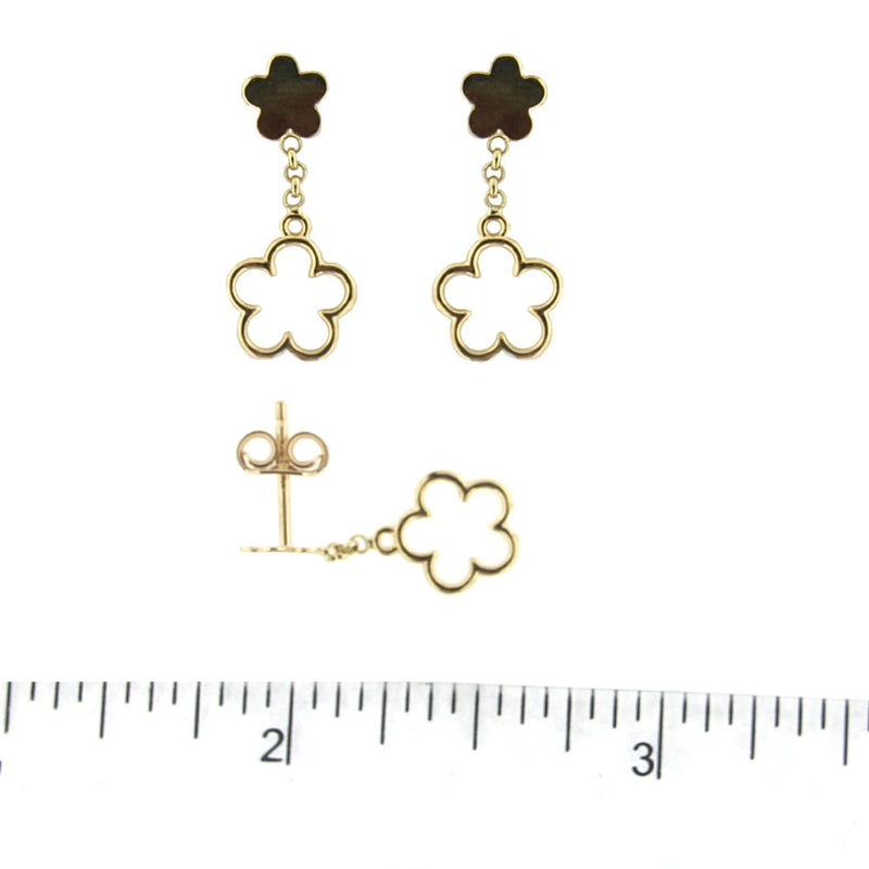 18K Yellow Gold top Polished Flower and Dangle Open Flower Post Earrings 0.75 inch LAmalia J. & Boutique Earrings