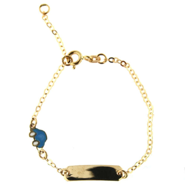 18K Yellow Gold Blue Enamel Car Id Bracelet 5.5 inches with extra ring at 4.7 inchesAmalia J. & Boutique Bracelets