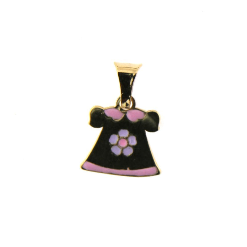 18K Yellow Gold Pink and  Lilac Enamel  Dress Pendant  H 0.50 inchAmalia J. & Boutique Charms