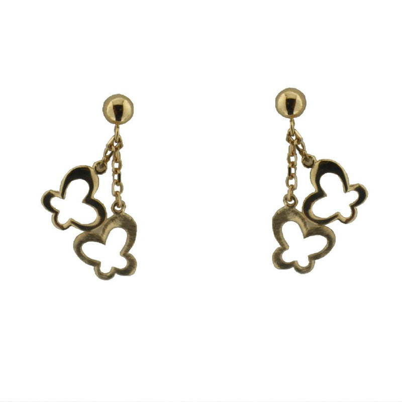 18K Yellow Gold Polished Butterfly and Satin Butterfly Dangle Post Earrings L.0.75 inchAmalia J. & Boutique Earrings