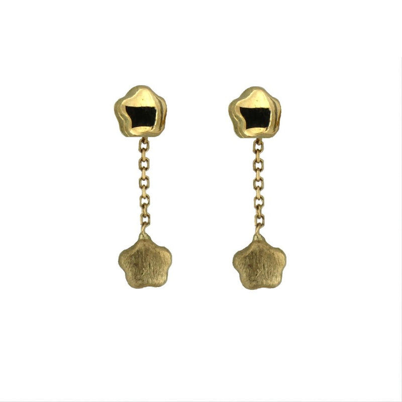 18K Yellow gold Satin and Polished Dangle Flower Earrings H.0.855 inchAmalia J. & Boutique Earrings
