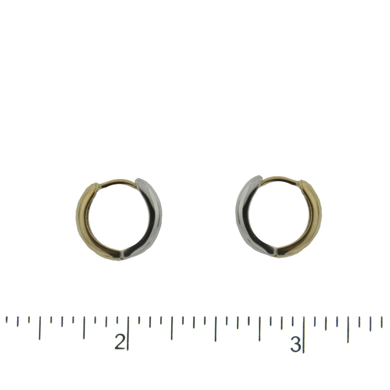 18k Two Tone Gold High Polished 3mm Round Hinged Hoop Earrings Front Yellow back White  9mm , 0.36 inch DiameterAmalia J. & Boutique Earrings