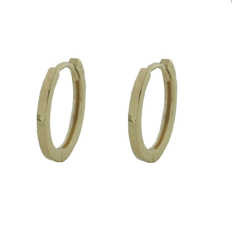 Solid 18K Yellow Gold Round Hinge Hoop Huggie  Earrings Square Tube 1.28mm  0.05 inch , Diameter  0.42 inch 10.70 mmAmalia J. & Boutique Earrings