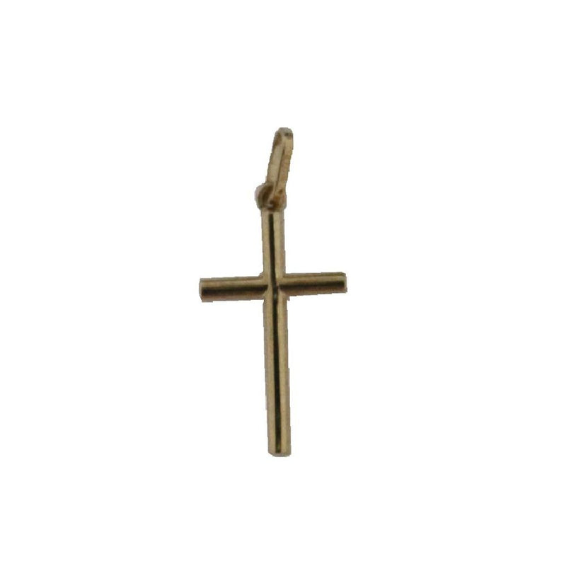 18K Yellow Gold Tube Cross pendant  14.4mm x 9 mm, 0.57 x 0.35 inch)Amalia J. & Boutique Charms
