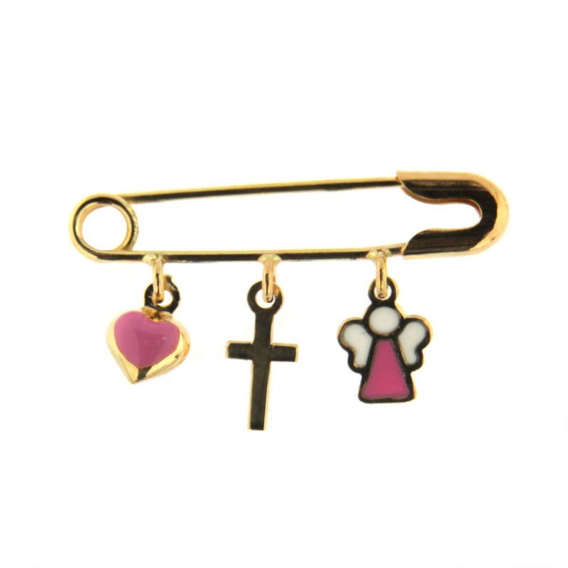 18k Yellow Gold  Cross and Pink Heart and  Angel Safety Pin L 1.0 inchAmalia J. & Boutique Charms