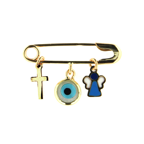 18k Yellow Gold  Cross Eye and enamel  Angel Safety Pin L 1 inchAmalia J. & Boutique Charms