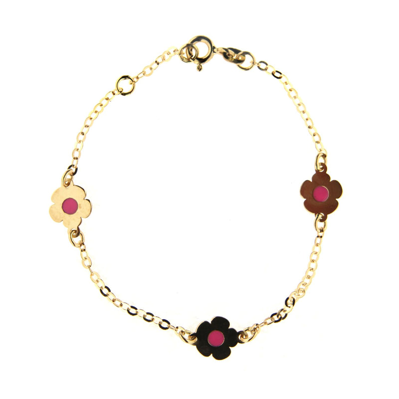 18K Solid Yellow Gold Pink Enamel Flower Bracelet 6 inches with extra ring at 5.5 inchesAmalia J. & Boutique Bracelets