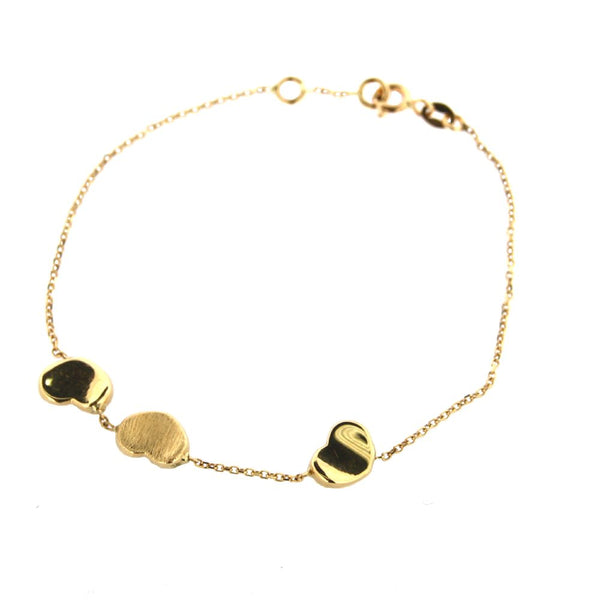 18K Solid  Yellow Gold Concave Polished Hearts & Satin Heart Bracelet 7 inches with extra ring at 6.50 inchesAmalia J. & Boutique Lady Gold Jewelry
