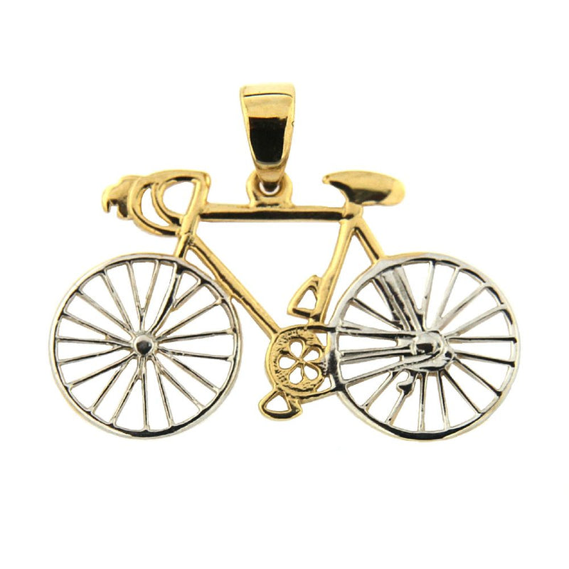 18K Two Tone Bicycle Pendant 1inch x 0.75 inch with bailAmalia J. & Boutique Charms