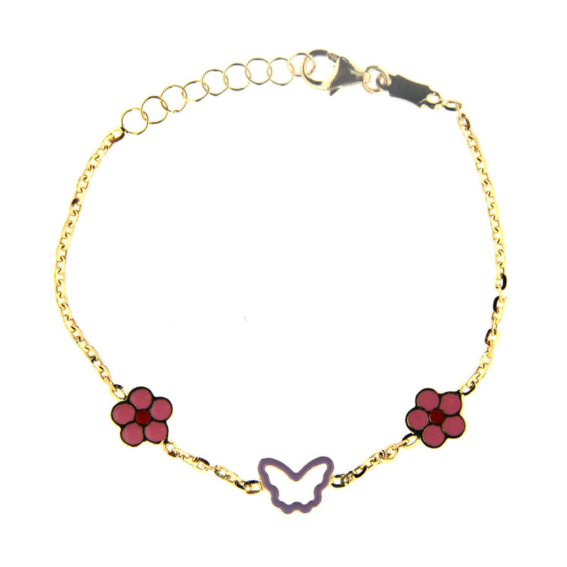 18K Yellow Gold Enamel Pink and Lilac flowers with center open enamel Butterfly Bracelet 5.5 inches with extra rings starting at 4.75 inchesAmalia J. & Boutique Bracelets