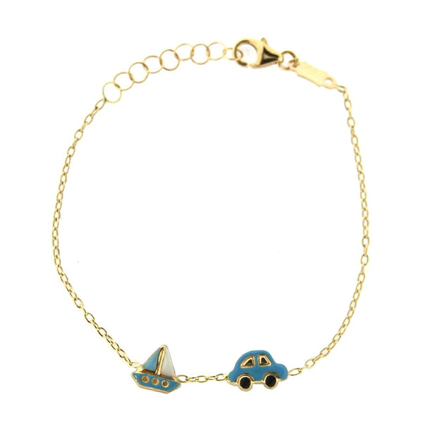 18K Yellow Gold Blue Enamel Car and Sailing  Boat Bracelet 5.5 inches with extra rings starting at 4.75 inchesAmalia J. & Boutique Bracelets