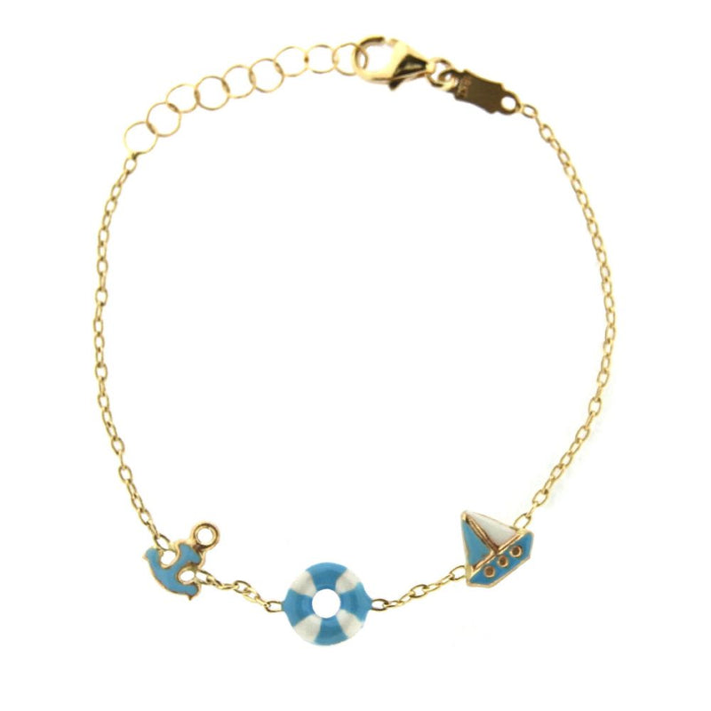 18K Yellow Gold Blue and White Enamel Lifesaver Anchor and Sailing  Boat Bracelet 5.5 inches with extra rings starting at 4.75 inchesAmalia J. & Boutique Bracelets
