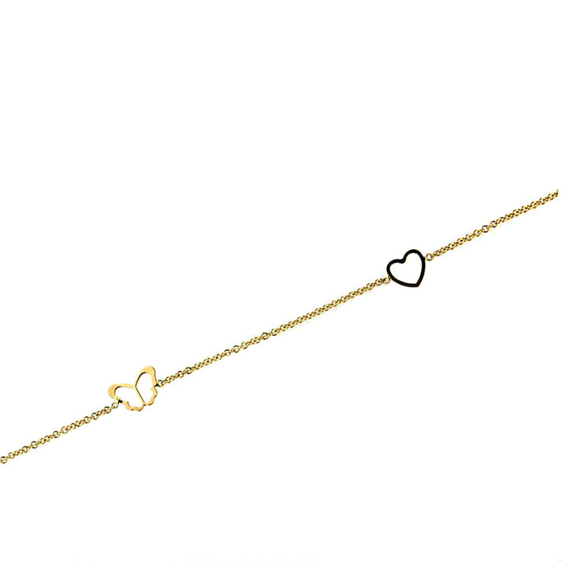 18K Yellow Gold Open Mini Open Heart and  Butterfly Bracelet 5.5 inches with extra rings starting at 4.80 inchesAmalia J. & Boutique Bracelets