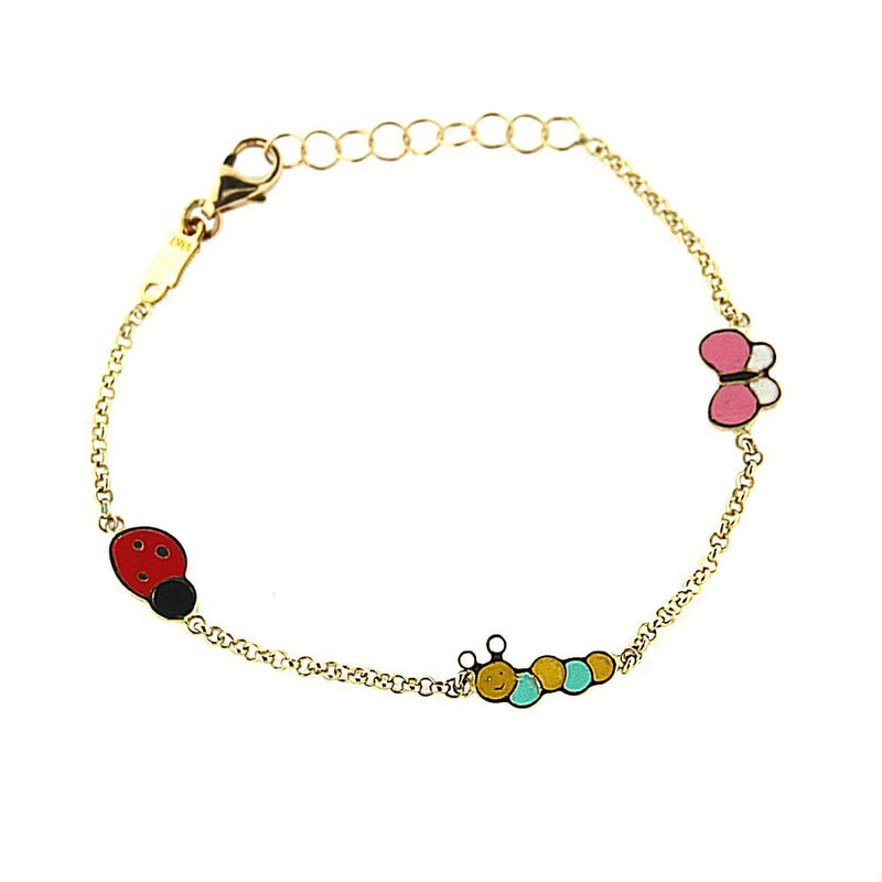 18K Yellow Gold Enamel  Butterfly Caterpillar  Lady Bug Bracelet 5.5 inches with extra rings starting at 4.80 inchesAmalia J. & Boutique Bracelets