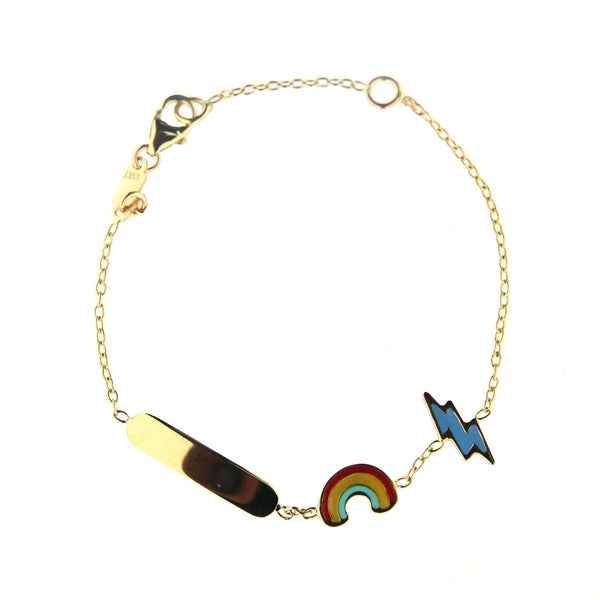 18K Solid Yellow Gold Enamel Rainbow and Lightning BoltWeather Id Bracelet 5.50 inches with extra ring at 4.80 inchesAmalia J. & Boutique Bracelets