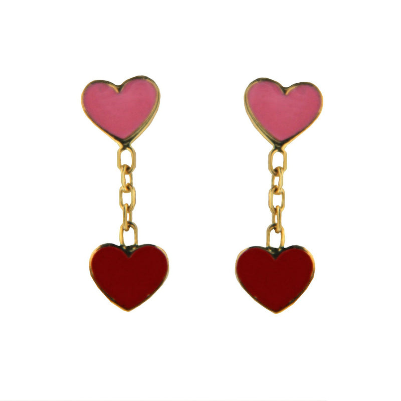 18K Yellow Gold Red and Pink  Enamel Hearts Dangle  Post  Earrings  H. 0.50 inchesAmalia J. & Boutique Earrings