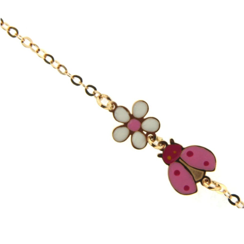 18K Yellow Gold Center Enamel  White and Pink Flower and Pink Lady Bug Bracelet 6 inch with extra rings starting at  5.25 inchAmalia J. & Boutique Bracelets