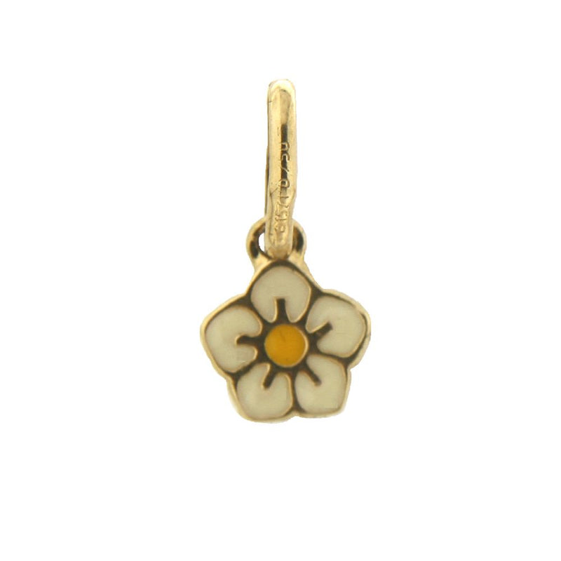 18K Yellow Gold Enamel Flower Charm White with yellow (7mm/15mm with Bail)Amalia J. & Boutique Charms
