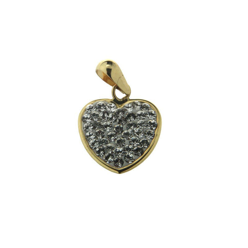 18K  Yellow Gold Pave Heart Pendant (11mm / 17mm with Bail)Amalia J. & Boutique Charms