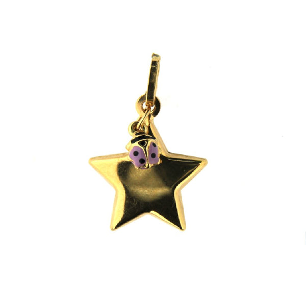 18K Yellow Gold Star and Lilac enamel Lady Bug Pendant 0.60 inchAmalia J. & Boutique Lady Gold Jewelry