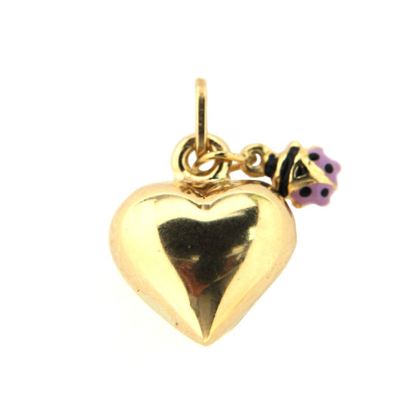 18K Yellow Gold Puffy heart and Lilac enamel Lady Bug pendant 0.55 inchAmalia J. & Boutique Lady Gold Jewelry