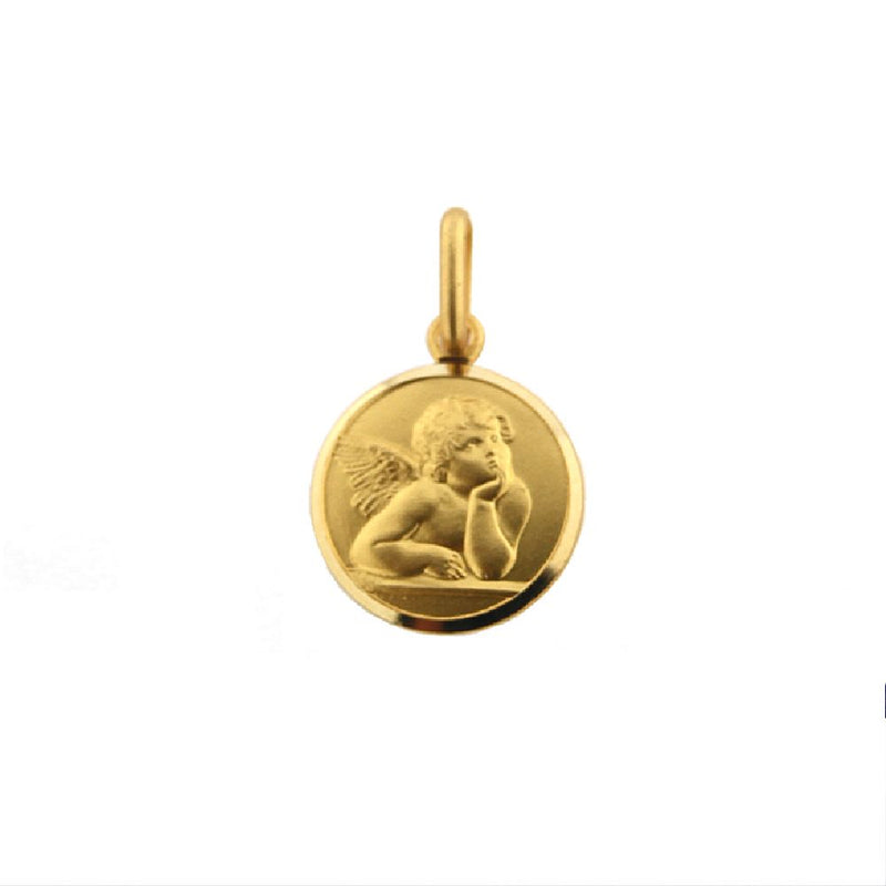 18K Solid Yellow Gold Angel Medal  11 mm 0.43 inch diameterAmalia J. & Boutique Charms