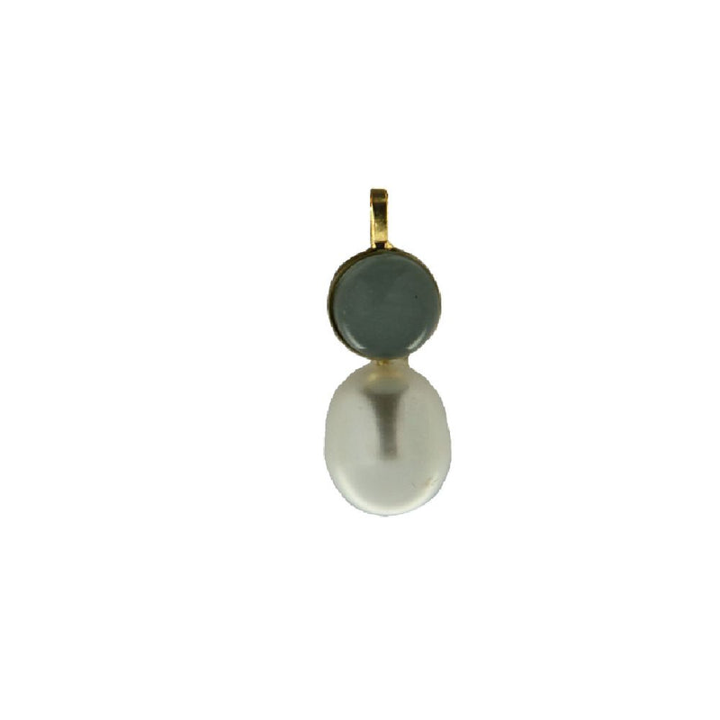 18K Yellow Gold Green Stone and Cultivated Pearl PendantAmalia J. & Boutique Charms