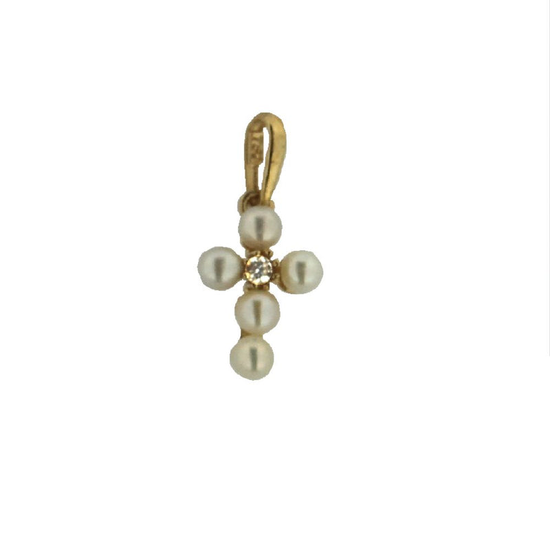 18K Yellow Gold Center Zirconia Cultivated Pearls Cross Pendant 0.62 x 0.27 inches with bailAmalia J. & Boutique Charms