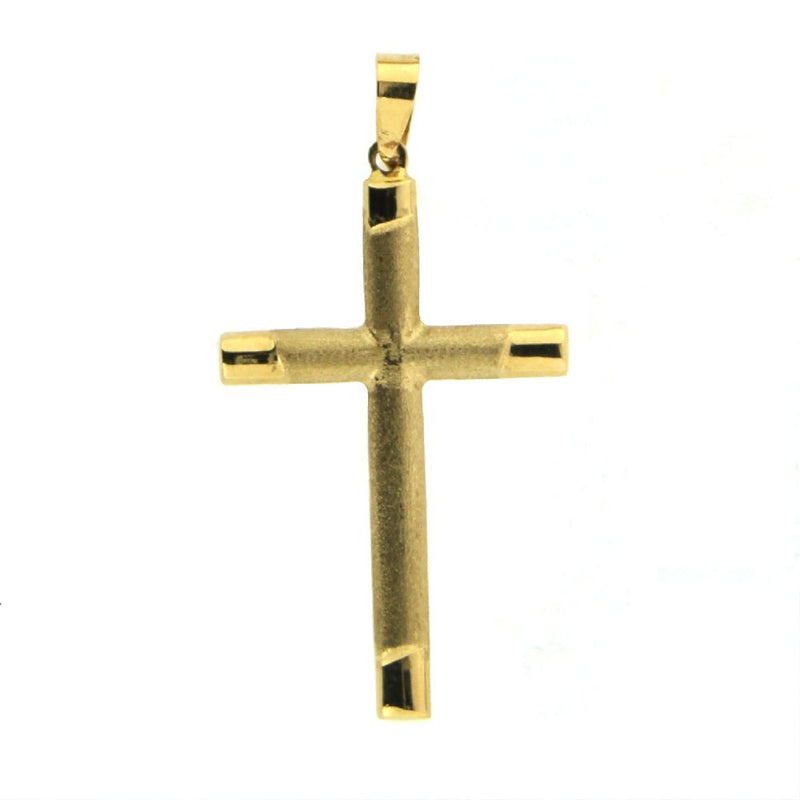 18K Yellow gold polish and satin  cross  36 mm x 18 mm   1.41 x 0.71 inchAmalia J. & Boutique Charms