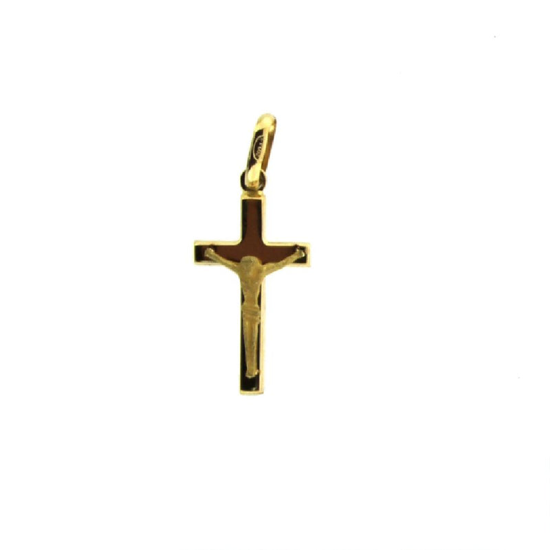 18k Yellow gold  crucifix Polished cross with satin christ 23x 10 mm   1.30 x 0.59 inchAmalia J. & Boutique Charms