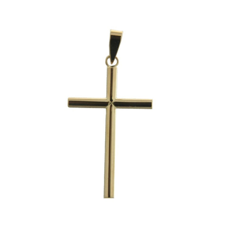 18K Yellow Gold Polished  Round Tube Cross H 1.25 with bail Tube Tube 2 mmAmalia J. & Boutique Charms