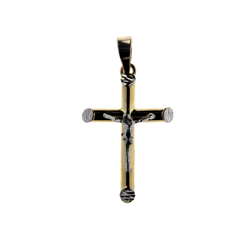 18K Solid Two Tone Tube Crucifix  1 x 0.55 inch Tube 2.60 mmAmalia J. & Boutique Charms