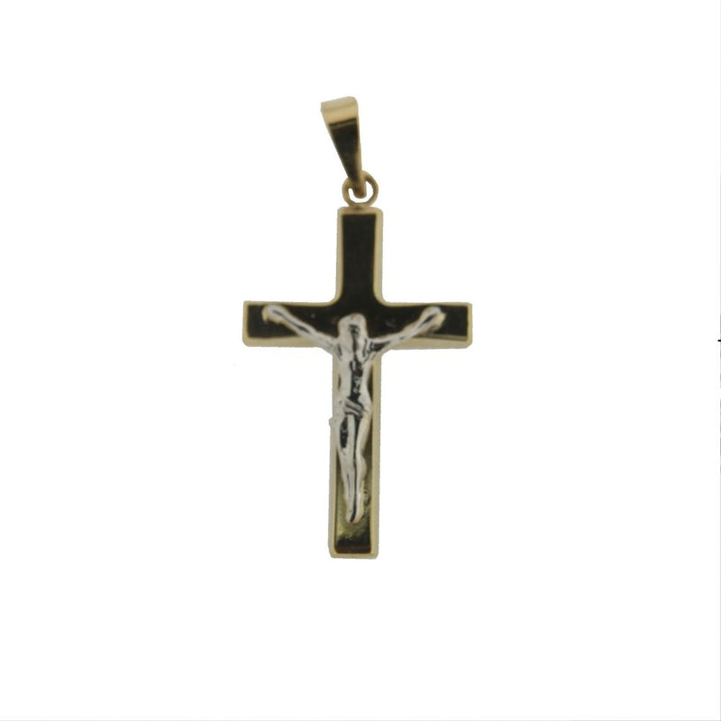 18K Two Tone Gold   Polished  Square Rounded Tube Crucifix. H 1.14 inch with bail Tube 3 mmAmalia J. & Boutique Charms