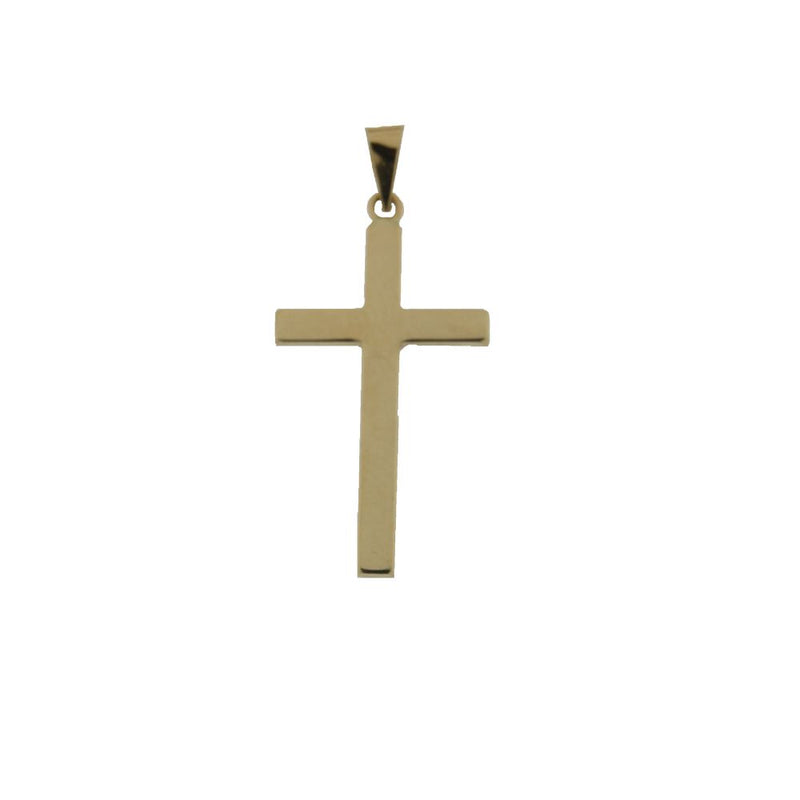 18K Yellow Gold Polished  Cross  H. 1.25 inch with bail  tube 2.90 mmAmalia J. & Boutique Charms