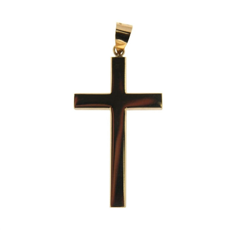 18K Yellow Gold Large Square Tube Cross. H 1.80  inch with bail Tube 4.20 mmAmalia J. & Boutique Charms