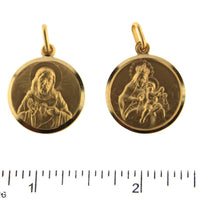 18K Solid Yellow Gold Round Scapular Medal . Sacred Heart of Jesus Back and Lady of Carmen 19mm 0.75 inch Diameter .Espaluario Sagrado Corazon Virgen del.CarmenAmalia J. & Boutique Charms