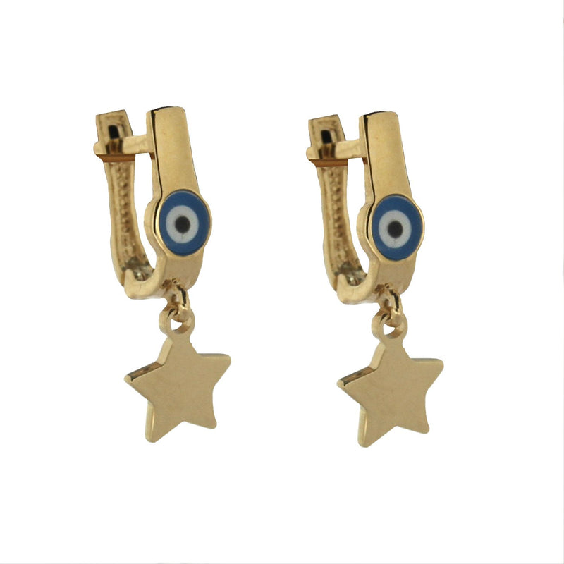 18K Solid Yellow Gold Star Dangling  Half oval Hoop with tiny Enamel Eye Earrings 0.69 x 0.25 inch.Amalia J. & Boutique Earrings