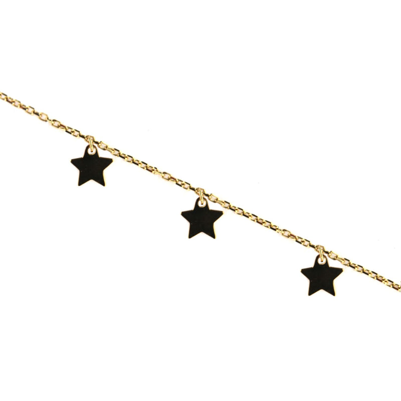18K Solid Yellow Gold  Dangling  Mini Star Bracelet 7 inches with extra ring starting at 6.40 inchesAmalia J. & Boutique Bracelets