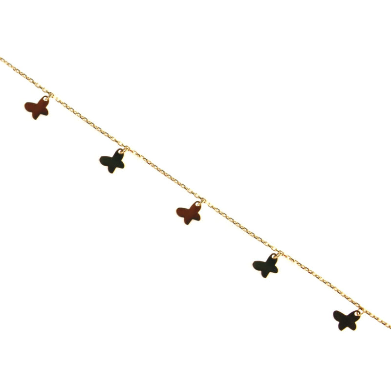 18K Solid Yellow Gold Dangling mini Butterflies Bracelet 7 inches with extra rings starting at 6.50 inchesAmalia J. & Boutique Bracelets