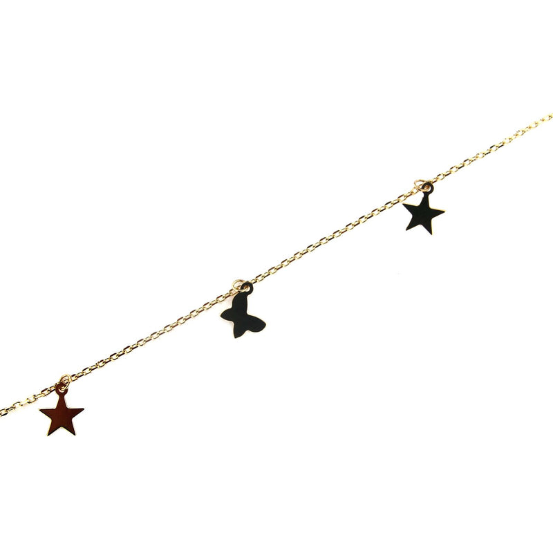 18K Solid Yellow Gold Dangling mini Stars and Butterflies  Anklet Bracelet 9 inches with extra rings stating at 8.5 inchesAmalia J. & Boutique Bracelets