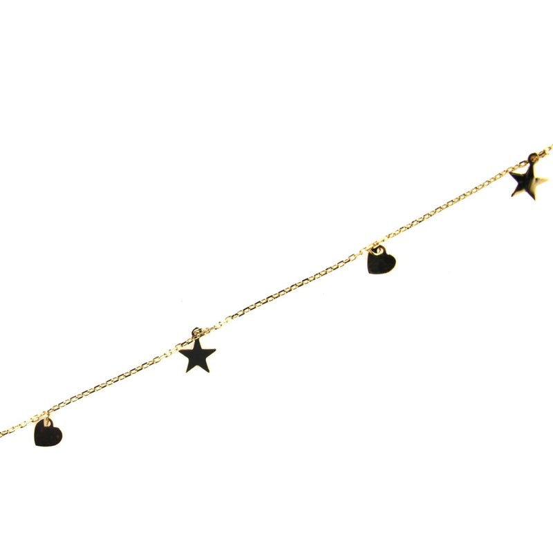18K Solid Yellow Gold Dangling mini Stars and Hearts Anklet Bracelet 9 inches with extra rings stating at 8.5 inchesAmalia J. & Boutique Bracelets